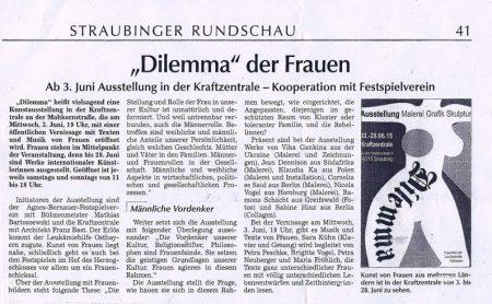 "Read more about the article ""Dilemma"" der Frauen: Straubinger Rundschau 30.05.2015"
