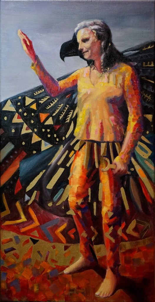 stroking an invisible horse - oilpainting by cornelia es said