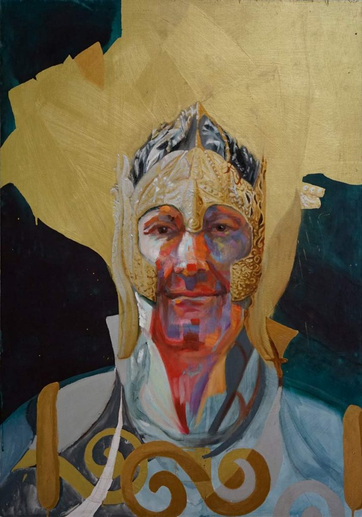 The Seaking, oil and gold on masonite by cornelia es said depicts  a fantasy character from MERP